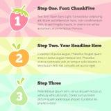 Vector progress steps banner design template - pastel fruits stock illustration