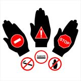 Vector prohibiting signs stock photography