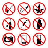 Vector prohibiting signs Royalty Free Stock Images
