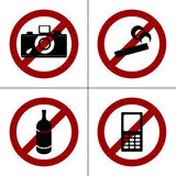 Vector prohibition icons Royalty Free Stock Photography