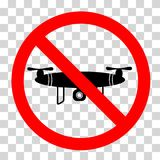 Prohibition Sign - No Drone Allowed, at Transparent Effect Background. Vector Prohibition Sign - No Drone Allowed, at Transparent Effect Background Stock Illustration
