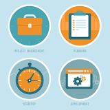 Vector project management concepts in flat style. Vector project  management concepts in flat style - modern business icons - planning, strategy and development Royalty Free Stock Images