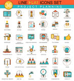 Vector Project planning flat line icon set. Modern elegant style design  for web. Royalty Free Stock Images