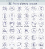 Vector Project planning outline icon set. Elegant thin line style design. Vector Project planning outline icon set. Elegant thin line style design Stock Photos