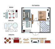 Vector projection and furniture icons. Home and structure, room and kitchen Royalty Free Stock Photos