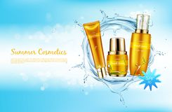Vector promo banner for summer spf cosmetics. royalty free illustration