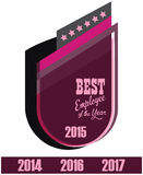 Vector promo label of best employee service award of the year. Royalty Free Stock Photo
