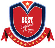 Vector promo label of best employee service award of the year. Royalty Free Stock Image