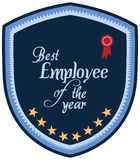 Vector promo label of best employee service award of the year. Stock Images