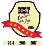 Vector promo label of best employee service award of the year. Stock Photos