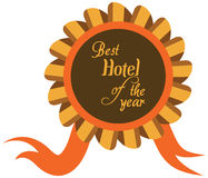 Vector promo label for best hotel of year award. Royalty Free Stock Photos