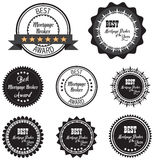Vector promo label of best mortgage broker agent service award of the year Royalty Free Stock Photo