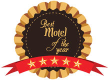 Vector promo label of best motel service award of the year. Stock Photos