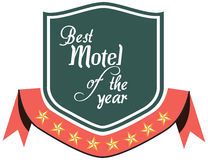 Vector promo label of best motel service award of the year. Royalty Free Stock Image