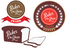 Vector promo label for best of year award for baker Royalty Free Stock Photo