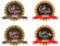 Vector promo label for best of year award for cafe and baker. In United States of America and 2015. Label to promote award or achievement Royalty Free Stock Photos