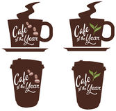 Vector promo label for best of year award for cafe or coffee shop Royalty Free Stock Images
