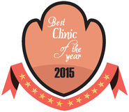 Vector promo label of best of year award for health care clinic. Stock Photography