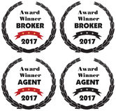 Vector promo sign or label of award winner of the year. Vector symbols for award winner broker and agent 2017. Vector promo sign or label of award winner of the Royalty Free Stock Photography