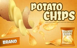 Vector promotion banner with crispy potato chips vector illustration