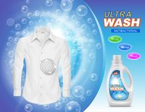 Vector promotion banner of liquid detergent. For laundry or stain remover in plastic bottle, with white clean shirt on blue background with soap bubbles Stock Photography