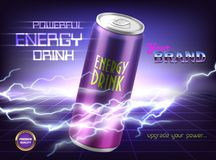 Vector promotion banner of powerful energy drink. Aluminum can with carbonated tonic, soda, alcoholic beverage on purple background with lightnings and vector illustration