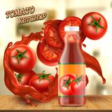 Vector banner with bottle of ketchup and tomatoes Royalty Free Stock Images