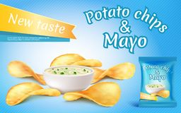Vector potato chips and mayo in bowl. Vector promotion banner with realistic potato chips and mayo in bowl. Fast food with mayonnaise, foil package with crispy Royalty Free Stock Images