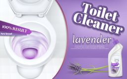 Vector promotion banner of toilet cleaner. Vector promotion banner with toilet cleaner, realistic white ceramic bowl with flushing water and detergent. Liquid royalty free illustration