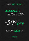 Vector promotional Amazing Shopping banner for online stores stock illustration