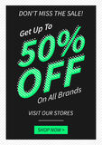 Vector promotional Get 50 percent off on all brands banner royalty free illustration