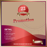 Vector,promoton anniversary square banner in luxury ribbon and e. Mblem style, mock up for social media or website advertising,Leave space for display of product Stock Photo