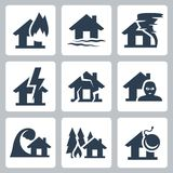 Vector property insurance icons. Set Royalty Free Stock Photo
