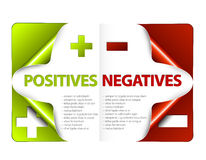 Vector pros and cons compare template. Vector template for positives and negatives Royalty Free Stock Photography