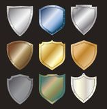 Vector protected steel shield steel icon sign set stock illustration