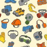 Vector protection clothing safety industry icons protective. Face and body equipment construction helmet, googles, mask and boots industrial mask for protect Royalty Free Stock Image