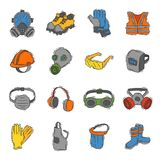 Vector protection clothing safety industry icons protective face and body equipment construction helmet, googles, mask Stock Photo