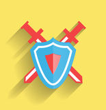 Vector protection shield flat icon Stock Image