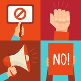 Vector protest signs and icons Royalty Free Stock Photos