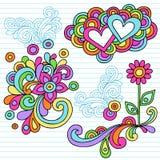 Vector psicodélico de los elementos del diseño del Doodle del cuaderno stock de ilustración