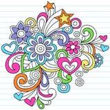 Vector psicodélico del Doodle del cuaderno stock de ilustración