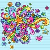 Vector psicodélico del Doodle del cuaderno de las estrellas Imagenes de archivo