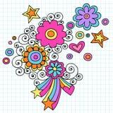 Vector psicodélico del Doodle del cuaderno de las flores stock de ilustración