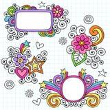 Vector psicodélico del Doodle del cuaderno de los marcos Fotos de archivo libres de regalías