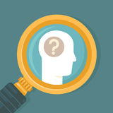 Vector psychology concept in flat style. Human brain icon and magnifier Royalty Free Stock Photo