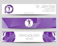 Vector Psychology Web banner design background or header Templates. Psi logo. Sumbol and icon, logotype. Profile Human. Creative style. Brand company concept Royalty Free Stock Images