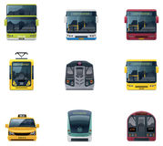 Vector public transport icons. Set of the detailed icons representing urban public transport vehicles Royalty Free Stock Photo