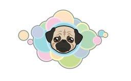Vector Pug Head. Vector illustration Dog `s head in cartoon style Royalty Free Illustration
