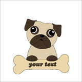 Vector of a pug holding a bone Royalty Free Stock Photos