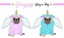 Vector pug puppy dog sitting down, wearing pink and blue jumpsuit with unicorn horn with rainbow colors and angel wings. Cute vector pug puppy dog sitting down royalty free illustration
